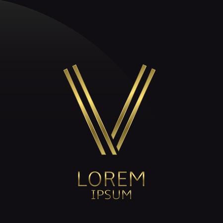 expensive: V Letter logo. Golden logo symbol for business company, luxury elegant expensive emblem