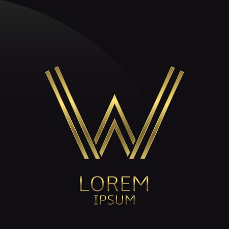 is expensive: W Letter logo. Golden logo symbol for business company, luxury elegant expensive emblem