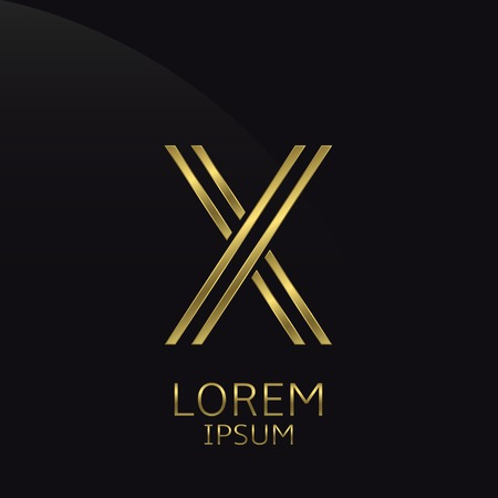 expensive: X Letter logo. Golden logo symbol for business company, luxury elegant expensive emblem