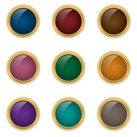 golden frames: Award badge set. Colored buttons with golden frames, Premium labels