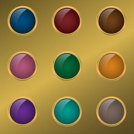 golden frames: Web button set. Colored buttons with golden frames, Premium labels Illustration