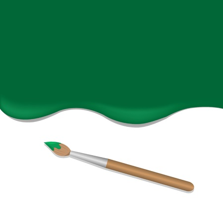 paint tool: Green background with paintbrush. Green paint. Brush tool Illustration