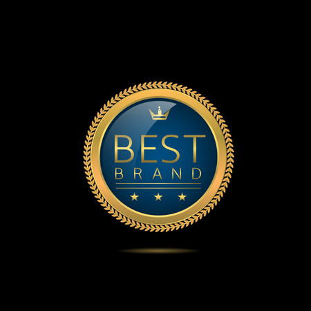 brand label: Best brand label. Golden badge with stars, crown and laurel wreath. Business concept