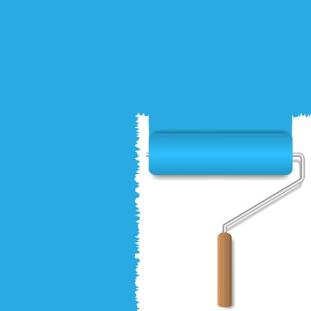 roller brush: Blue background. Blue paint. Realistic roller brush Illustration