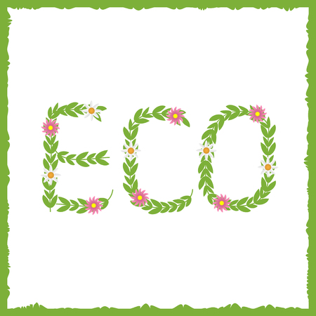 germination: Eco concept. Green text. Green leaves with flowers