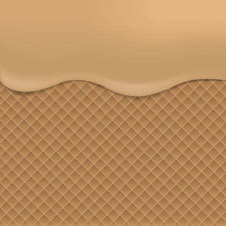 wafer: Wafer background with condensed milk. Milk chocolate. Tasty dessert Illustration