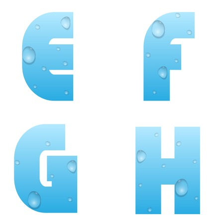Alphabet with water drops. Blue water letters Illustration