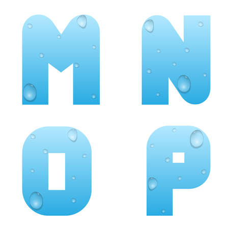 wetness: Alphabet with water drops. Blue water letters Illustration