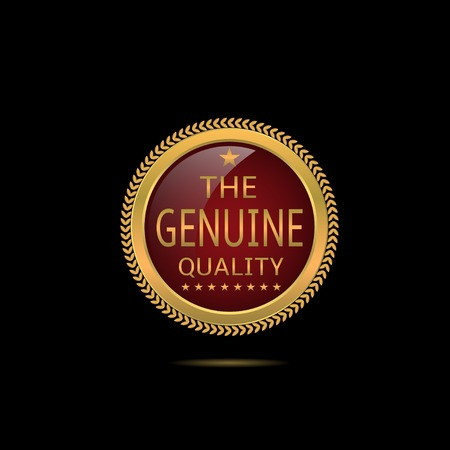 authentic: Genuine quality label. Authentic badge. Golden business award label