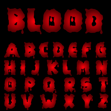 runny: Red blood alphabet. Bloody font, Vector illustration