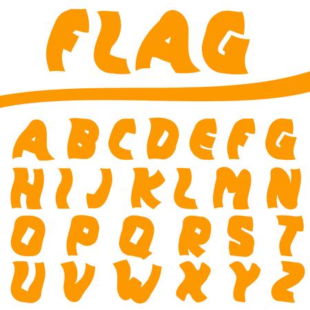 twisted: Orange Twisted letters. Creative font, Vector illustration Illustration
