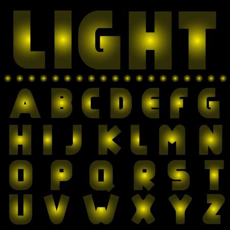 ardent: Yellow light alphabet. Lamp font. Yellow letters for nightclub hotel casino shop cinema sign-board Illustration
