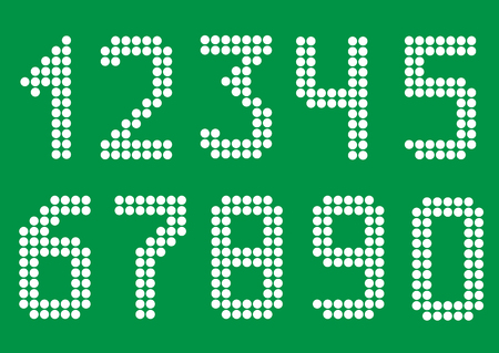 six point: White point numbers on green background. Vector illustration