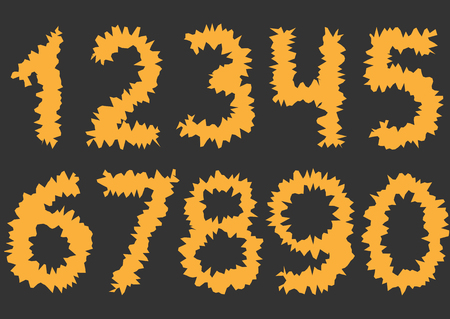 thorny: Orange cutting Numbers. Thorny numbers, Vector illustration Illustration
