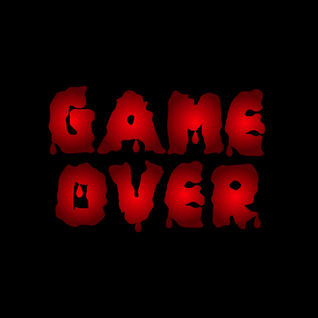 defeat: Game over. Red blood letters. Finish. Final Vector illustration Illustration