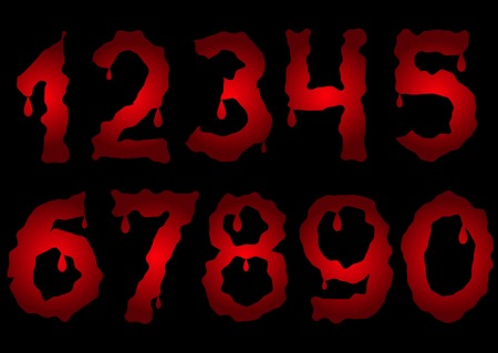 numbers: Red bloody numbers. Scary numbers. Bloody numbers. Red numbers. Horror numbers