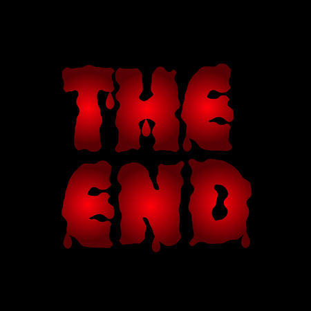 finished: The end. Red blood letters. Finish. Final Vector illustration