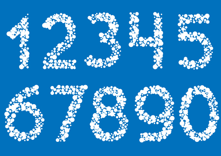 three points: White point numbers on blue background. Vector illustration Illustration