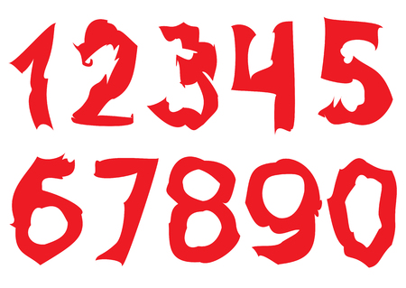numbers: Curved red Numbers. Rough numbers, Vector illustration