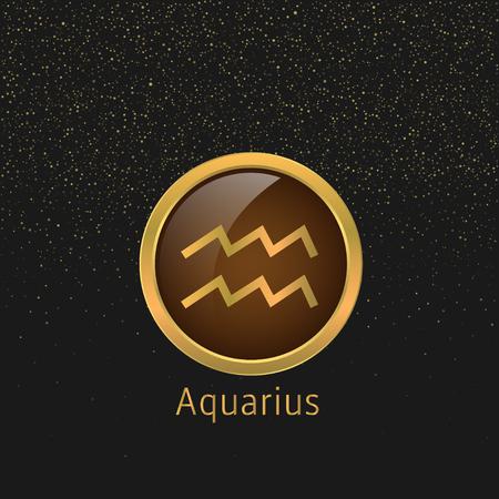abstract aquarius: Aquarius Zodiac sign. Aquarius abstract symbol. Aquarius golden icon