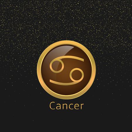 cancer zodiac: Cancer Zodiac sign. Cancer abstract symbol. Cancer golden icon