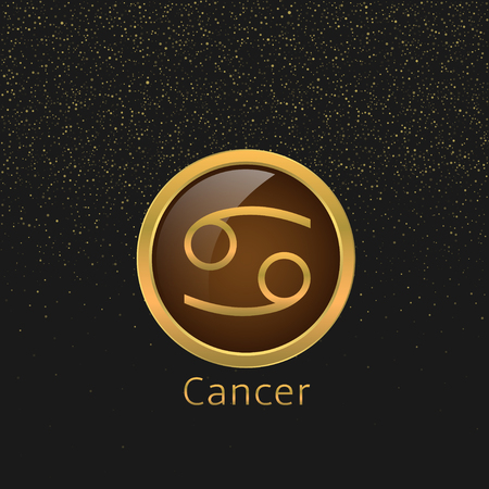 zodiacal symbol: Cancer Zodiac sign. Cancer abstract symbol. Cancer golden icon