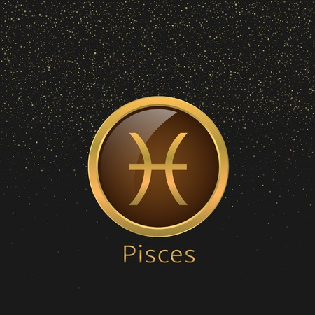 pisces: Pisces Zodiac sign. Pisces abstract symbol. Pisces golden icon. Fishes sign. Fishes astrology symbol Illustration