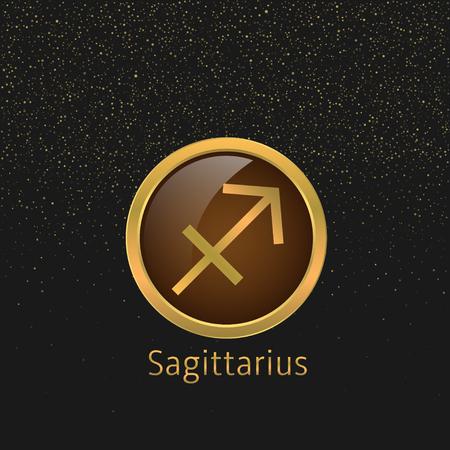 signes du zodiaque: signe du Sagittaire Zodiac. Sagittaire symbole abstrait. Sagittaire ic�ne dor�e. Bow signe. symbole de l'arc d'or avec la fl�che Illustration