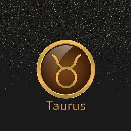 signes du zodiaque: signe du Taureau Zodiaque. Taureau symbole abstrait. Taurus ic�ne dor�e. symbole de Bull. Or signe haussier