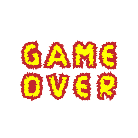 defeat: Game over. Fire letters. Finish Final Vector illustration Illustration