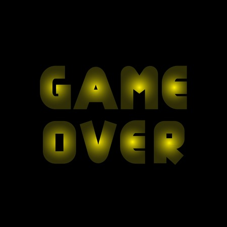 Game over text. Yellow lamps letters. Finish. Final Defeat
