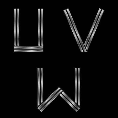 exclusive collection: UVW letters. Silver metal alphabet, metallic font Illustration