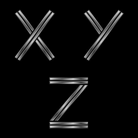 xyz: XYZ letters. Silver metal alphabet, metallic font