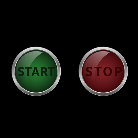 activate: Start and stop buttons. Red and green buttons. Start and finish. Vector illustration Illustration