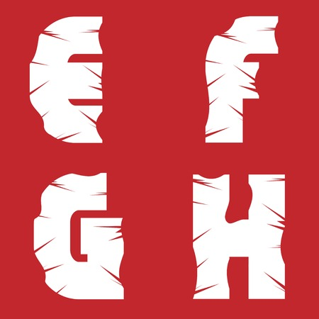 EFGH grunge letters. White scratch alphabet on the red background Illustration