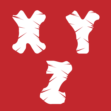 XYZ grunge letters. White scratch alphabet on the red background
