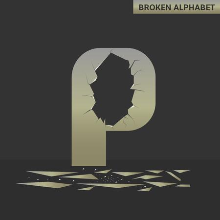 deficient: Broken P letter. Mirror alphabet with cracks Illustration
