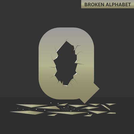 deficient: Broken Q letter. Mirror alphabet with cracks