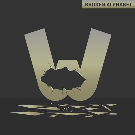 deficient: Broken W letter. Mirror alphabet with cracks