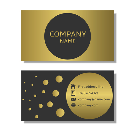 company name: Business card template. Golden business card with place for company name Illustration