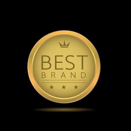 brand label: Best brand label. Golden badge with stars and crown, Original product Illustration