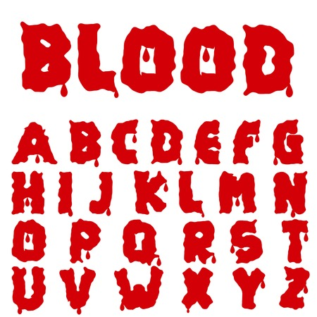 Red blood alphabet. Bloody font. Illustration