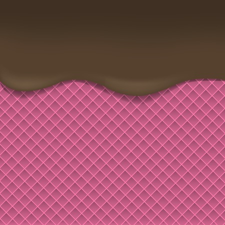 dark chocolate: Pink Wafer background with dark chocolate. Dark chocolate. Tasty dessert