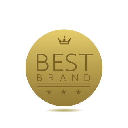 brand label: Best brand label. Golden award badge with crown and stars