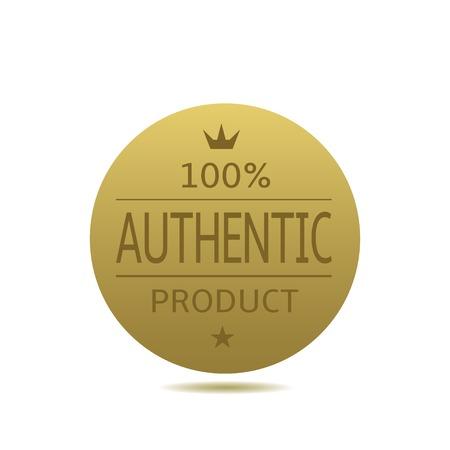 100% etiqueta del producto auténtico. insignia de oro de la concesión