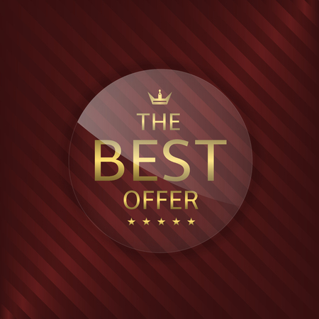 glass badge: Best offer glass label. Glass badge with golden text, Luxury emblem