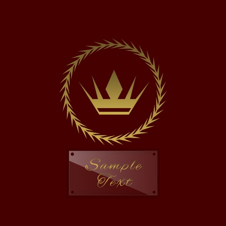 nameplate: Golden crown symbol with laurel wreath and glass nameplate for simple text