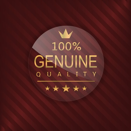 glass badge: Genuine quality label. Glass badge with golden text, Luxury emblem