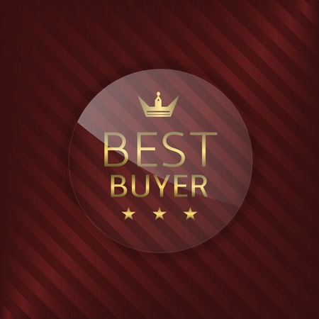 glass badge: Best buyer glass label. Glass badge with golden text