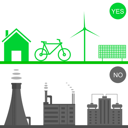 toxic waste: Environmental pollution illustration. Green house, solar panel, green bicycle, wind energy system. Toxic waste. Heavy industry Illustration